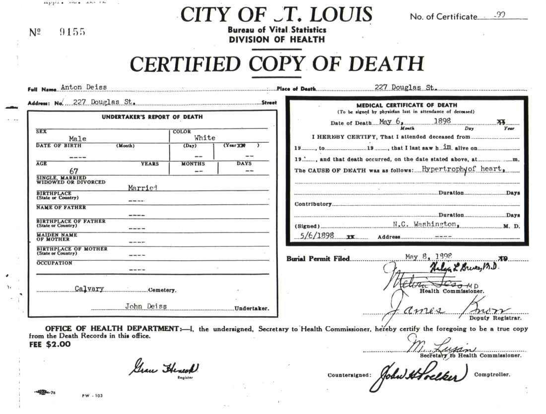 Blank Death Certificate Template